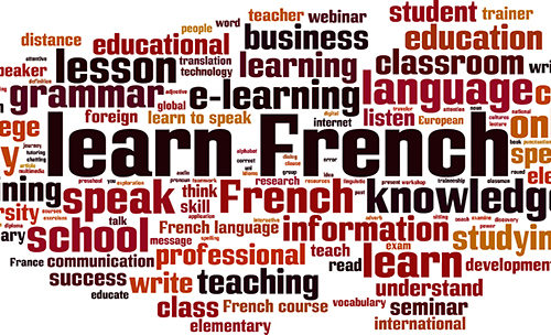 Learn French word cloud concept. Vector illustration