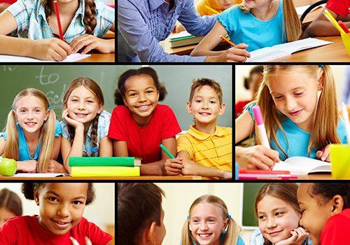 Collage of smart schoolchildren and teacher in classroom