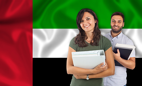 Couple of young students with books over United Arab Emirates flag